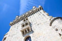 Ausführliche Ansicht Lissabons des berühmten Belem-Turmöffentlichkeitsmonuments Lizenzfreies Stockfoto