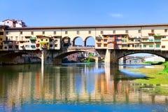 Ausführliche Ansicht Ponte Veccio der Brücke über Arno riv Lizenzfreies Stockbild