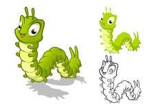 Ausführliche Caterpillar-Zeichentrickfilm-Figur mit flachem Design und Linie Art Black und weiße Version Lizenzfreies Stockbild