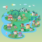 Ausführliche flache isometrische Stadt 3d: Straßengebäude, Parks, Brücken, öffentliche Orte