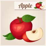 Ausführliche Ikone Roter Apfel Lizenzfreies Stockfoto