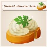 Ausführliche Ikone Sandwich mit Frischkäse Lizenzfreie Stockfotografie