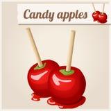 Ausführliche Ikone Schokoladen-, Karamell- und Toffeesüßigkeitäpfel mit Reflexion Stockbilder