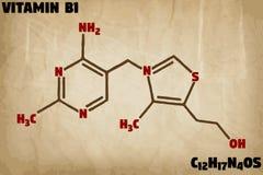 Ausführliche Illustration des Moleküls des Vitamins B1 vektor abbildung