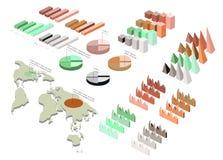 Ausführliche Illustration eines isometrischen Infographic-Satzes Lizenzfreies Stockbild