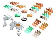 Ausführliche Illustration eines isometrischen Infographic-Satzes Lizenzfreie Stockfotografie