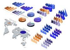 Ausführliche Illustration eines isometrischen Infographic-Satzes Lizenzfreie Stockfotos