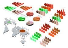 Ausführliche Illustration eines isometrischen Infographic-Satzes Stockbild