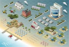 Ausführliche Illustration von isometrischen Küsten-Gebäuden Lizenzfreies Stockfoto