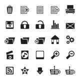 Ausführliche Internet-Ikonen des Schattenbild-25 Stockbild