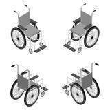 Ausführliche isometrische Ikone des Rollstuhls Stockfoto