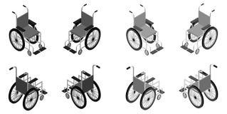 Ausführliche isometrische Ikone des Rollstuhls Lizenzfreie Stockbilder
