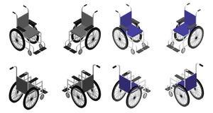 Ausführliche isometrische Ikone des Rollstuhls Lizenzfreie Stockfotografie