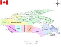 Ausführliche Karte von Provinzen und Gebiete von Kanada stockfotos