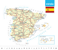 Ausführliche Karte von Spanien Stockbilder
