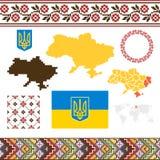 Ausführliche Landform mit den Regionrändern, -markierungsfahnen und -ikonen getrennt auf weißem Hintergrund lizenzfreie abbildung