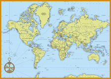 Ausführliche politische Weltkarte Lizenzfreies Stockbild