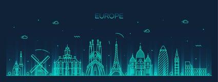 Ausführliche Schattenbildlinie Kunstart Europa-Skyline Lizenzfreie Stockfotografie