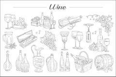 Ausf?hrliche Skizze von Weinelementen Flaschen, Gl?ser verschiedene Formen, F?sser, Picknickkorb K?stlicher Alkoholiker vektor abbildung