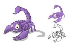 Ausführliche Skorpions-Zeichentrickfilm-Figur mit flachem Design und Linie Art Black und weiße Version Stockfoto