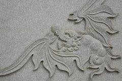 Ausführliche Skulptur des Drachen mit Flügeln Stockfotos