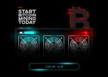 Ausführliche Vektor-Illustration von Bitcoin-Bergmännern und von rotem Bitcoin L stock abbildung