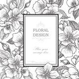 Ausführliche vektorzeichnung Blumenblumenstrauß-Weinleseabdeckung Flourishkarte w lizenzfreie abbildung