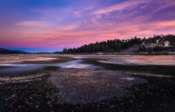Ausführliche Vordergrund-Beschaffenheit während Sun, der über Big Bear See einstellt Lizenzfreies Stockbild