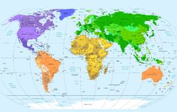 Ausführliche Weltkarte Stockfoto