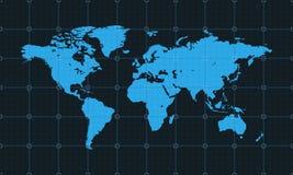 Ausführliche Weltkarte auf dem Hintergrund mit Gitter Auch im corel abgehobenen Betrag Lizenzfreie Stockfotos