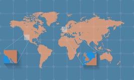 Ausführliche Weltkarte auf dem Hintergrund mit Gitter Auch im corel abgehobenen Betrag Lizenzfreie Stockfotografie