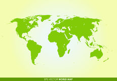 Ausführliche Weltkarte in der grünen Farbe Lizenzfreies Stockfoto