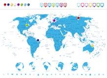 Ausführliche Weltkarte mit Kugel-Ikonen und Navigations-Symbolen Stockbilder