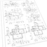 Ausführlicher Architekturplan Stockbild