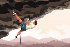 Ausführlicher Bergsteiger in der Höhle lizenzfreie abbildung