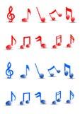 Ausführlicher bunter Vektor der musikalischen Anmerkungen. Lizenzfreie Stockfotografie