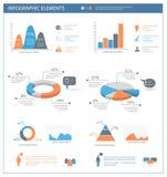 Ausführlicher infographic Elementsatz mit Grafiken und Diagrammen Lizenzfreie Stockbilder