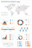Ausführlicher infographic Elementsatz mit Weltkartegraphiken und ch Lizenzfreie Stockfotografie