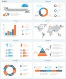 Ausführlicher infographic Elementsatz mit Weltkartegraphiken und ch Stockbild