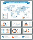 Ausführlicher infographic Elementsatz mit Weltkartegraphiken und ch Lizenzfreie Stockfotos