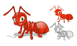 Ausführlicher roter Ant Cartoon Character mit flachem Design und Linie Art Black und weiße Version Lizenzfreie Stockbilder