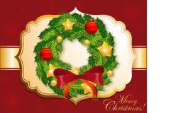 Ausführlicher Weihnachtskranz lizenzfreie stockbilder