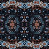 Ausführliches Blumen- und Paisley-Schaldesign Nahtloses Retro- Muster Stockfotografie
