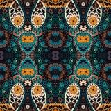 Ausführliches Blumen- und Paisley-Schaldesign Nahtloses Retro- Muster Lizenzfreies Stockfoto