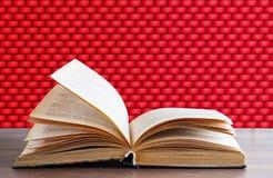 Ausführliches Buch auf einem Backsteinmauerhintergrund lizenzfreies stockbild