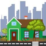 Ausführliches buntes Haus Modernes grünes Haus in der flachen Art Stockfoto