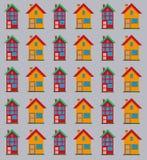 Ausführliches flaches Hausmuster Lizenzfreie Stockbilder