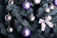 Ausführliches Foto des Weihnachtsbaums Stockbilder