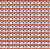 Ausführliches gestricktes gestreiftes rot-und-weißes Muster Lizenzfreies Stockfoto