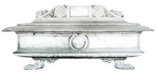 Ausführliches Grab mit den Dekorationen gemacht vom Stein auf einem weißen Hintergrund Lizenzfreie Stockbilder